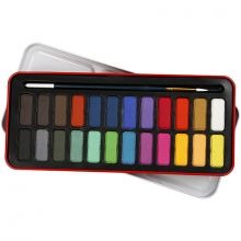 Akvarelsæt inkl. pensel, 24 farver