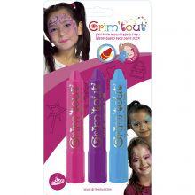 Ansigtsfarve - 3 farvestifter - Prinsesse