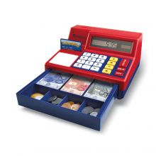 Kasseapparat med regnemaskine og penge