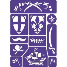 Ansigtsfarve - Skabelon til ridder og pirater
