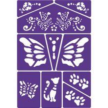 Ansigtsfarve - Skabelon m. kat og sommerfugl