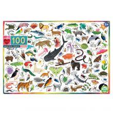 Puslespil med 100 brk. - Dyr i verden